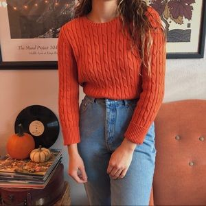 orange cable knit sweater🧶